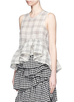Front View - Click To Enlarge - ISA ARFEN - Plaid ruffle peplum cotton muslin top