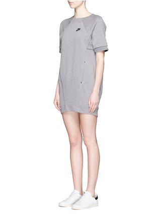 Front View - Click To Enlarge - Nike - 'Tech Fleece' mesh cuff jersey dress