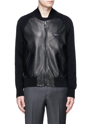 Main View - Click To Enlarge - Givenchy - Rib knit sleeve leather bomber jacket