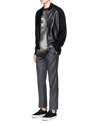 Figure View - Click To Enlarge - Givenchy - Rib knit sleeve leather bomber jacket