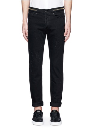 Detail View - Click To Enlarge - Givenchy - Zip waist distressed slim fit jeans