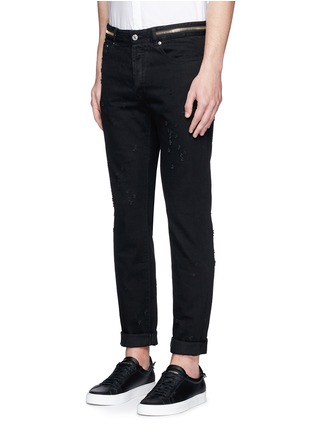 Front View - Click To Enlarge - Givenchy - Zip waist distressed slim fit jeans