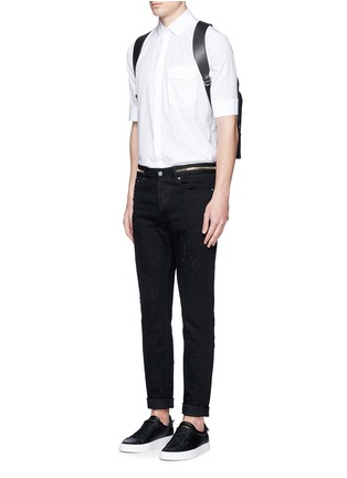 Figure View - Click To Enlarge - Givenchy - Zip waist distressed slim fit jeans