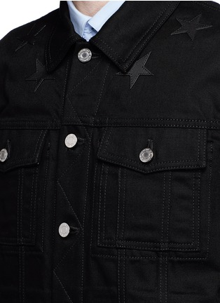 Detail View - Click To Enlarge - Givenchy Beauty - Leather star appliqué denim jacket