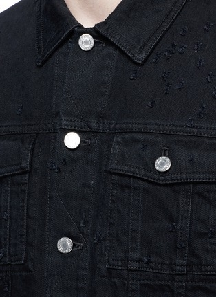 Detail View - Click To Enlarge - GIVENCHY - Distressed denim jacket