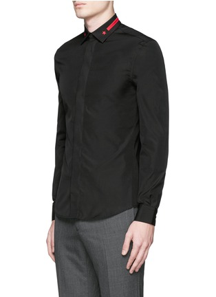 Front View - Click To Enlarge - Givenchy - Star stripe collar poplin shirt