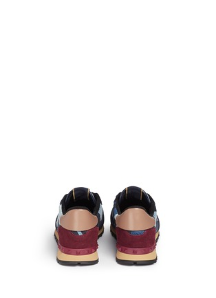Back View - Click To Enlarge - VALENTINO - Camouflage patchwork denim sneakers
