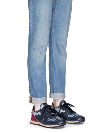 Figure View - Click To Enlarge - VALENTINO - Camouflage patchwork denim sneakers