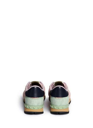 Back View - Click To Enlarge - Valentino - Colourblock macramé lace sneakers