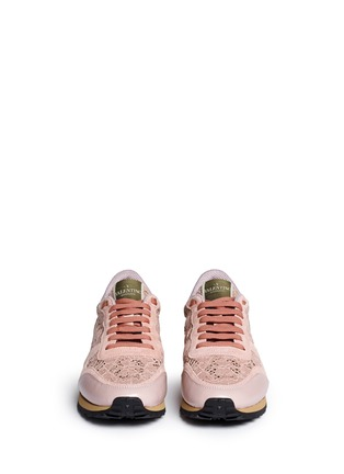 Front View - Click To Enlarge - Valentino - Colourblock macramé lace sneakers