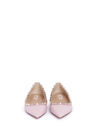 Front View - Click To Enlarge - Valentino - 'Rockstud' leather skimmer flats