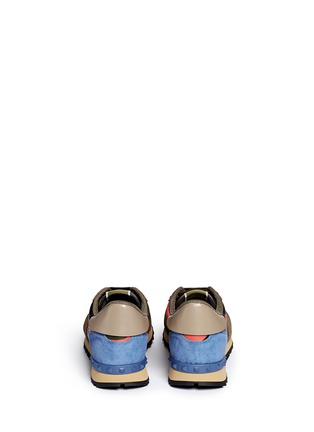 Back View - Click To Enlarge - Valentino - Camouflage print patchwork leather sneakers