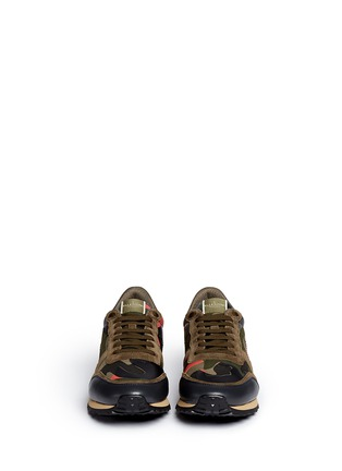 Front View - Click To Enlarge - Valentino - Camouflage print patchwork leather sneakers