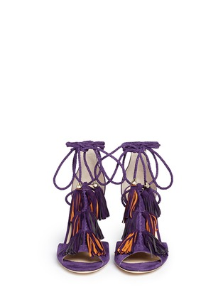Front View - Click To Enlarge - Jimmy Choo - 'Mindy 85' tassel charm suede sandals