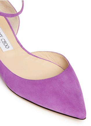 Detail View - Click To Enlarge - Jimmy Choo - 'Lucy' ankle strap suede d'Orsay flats