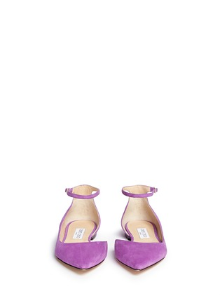 Front View - Click To Enlarge - Jimmy Choo - 'Lucy' ankle strap suede d'Orsay flats