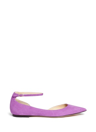 Main View - Click To Enlarge - Jimmy Choo - 'Lucy' ankle strap suede d'Orsay flats