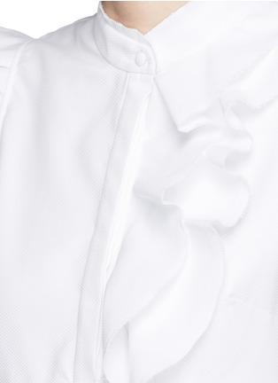 Detail View - Click To Enlarge - ERDEM - 'Camelia' cotton piqué ruffle blouse