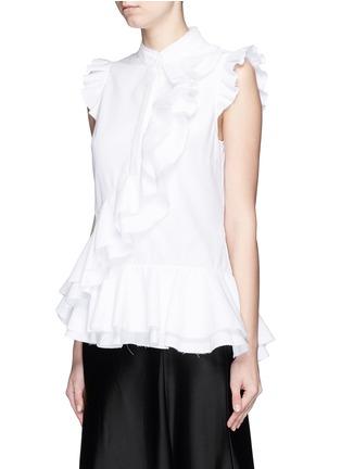 Front View - Click To Enlarge - ERDEM - 'Camelia' cotton piqué ruffle blouse
