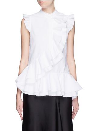 Main View - Click To Enlarge - ERDEM - 'Camelia' cotton piqué ruffle blouse