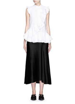 Figure View - Click To Enlarge - ERDEM - 'Camelia' cotton piqué ruffle blouse