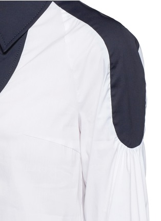 Detail View - Click To Enlarge - Peter Pilotto - 'Penta' balloon sleeve plunge neck poplin shirt