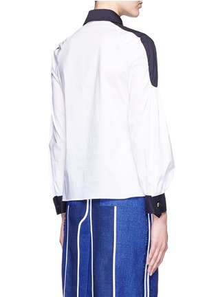 Back View - Click To Enlarge - Peter Pilotto - 'Penta' balloon sleeve plunge neck poplin shirt