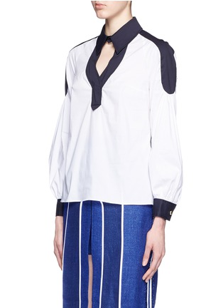 Front View - Click To Enlarge - Peter Pilotto - 'Penta' balloon sleeve plunge neck poplin shirt