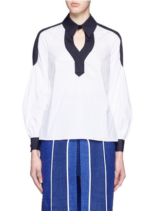 Main View - Click To Enlarge - Peter Pilotto - 'Penta' balloon sleeve plunge neck poplin shirt