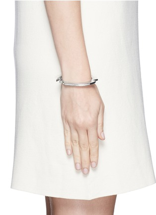 Figure View - Click To Enlarge - Lynn Ban - 'Handcuff 2' diamond sterling silver hinged bangle
