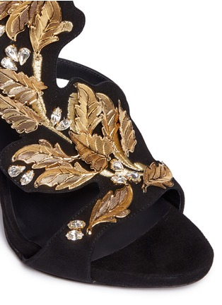 Detail View - Click To Enlarge - Giuseppe Zanotti Design - 'Coline' leaf filigree suede sandals