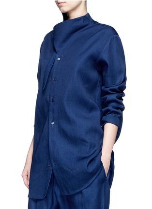 Detail View - Click To Enlarge - FFIXXED STUDIOS - Knot collar cotton-tencel unisex shirt