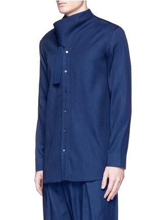 Front View - Click To Enlarge - FFIXXED STUDIOS - Knot collar cotton-tencel unisex shirt