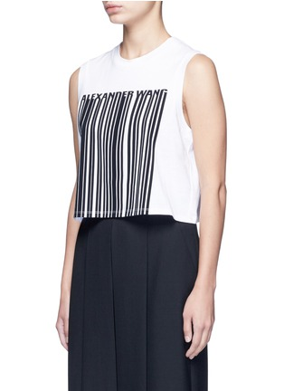 Front View - Click To Enlarge - alexanderwang - Barcode print cropped tank top