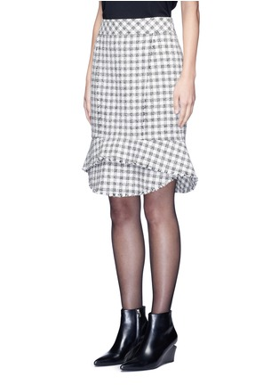 Front View - Click To Enlarge - Alexander Wang  - Tweed peplum pencil skirt