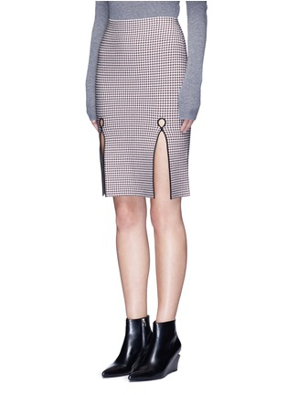 Front View - Click To Enlarge - Alexander Wang  - Keyhole split houndstooth knit pencil skirt