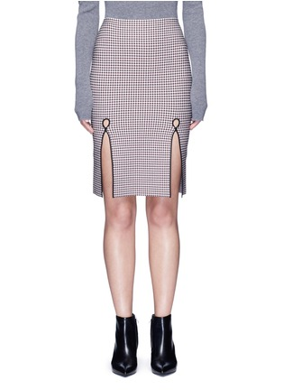 Main View - Click To Enlarge - Alexander Wang  - Keyhole split houndstooth knit pencil skirt