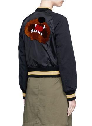 Back View - Click To Enlarge - 3.1 PHILLIP LIM - Flocked animal print panelled bomber jacket