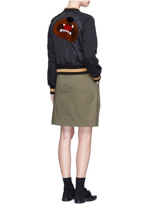 Figure View - Click To Enlarge - 3.1 PHILLIP LIM - Flocked animal print panelled bomber jacket