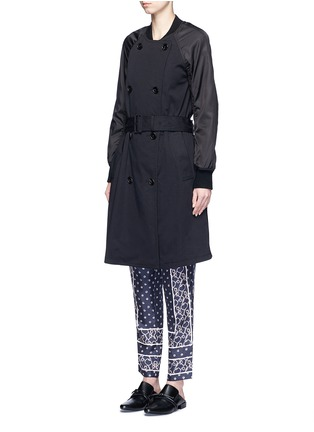 Front View - Click To Enlarge - 3.1 PHILLIP LIM - Twill nylon combo bomber trench coat