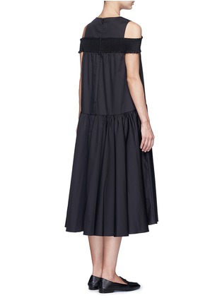 Back View - Click To Enlarge - Tibi - Smocked cold-shoulder satin poplin midi dress