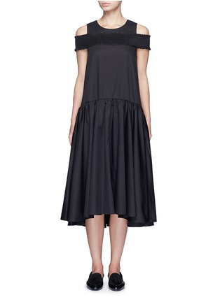 Main View - Click To Enlarge - Tibi - Smocked cold-shoulder satin poplin midi dress