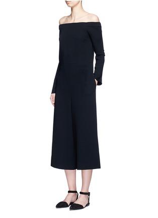 Figure View - Click To Enlarge - Tibi - Off-shoulder crepe culotte jumpsuit
