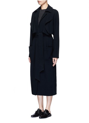 Front View - Click To Enlarge - Tibi - Soft crepe belted trench coat