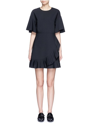 Main View - Click To Enlarge - Tibi - Pleated ruffle tropical wool dress