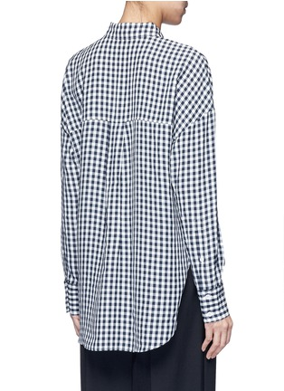 Back View - Click To Enlarge - TIBI - Gingham check print button utility blouse