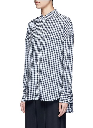 Front View - Click To Enlarge - TIBI - Gingham check print button utility blouse