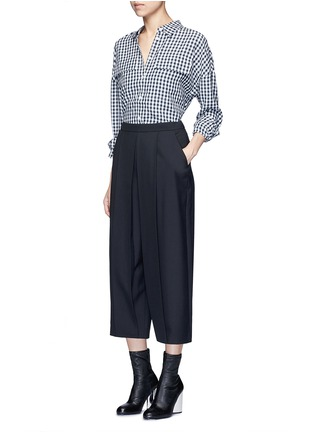 Figure View - Click To Enlarge - TIBI - Gingham check print button utility blouse