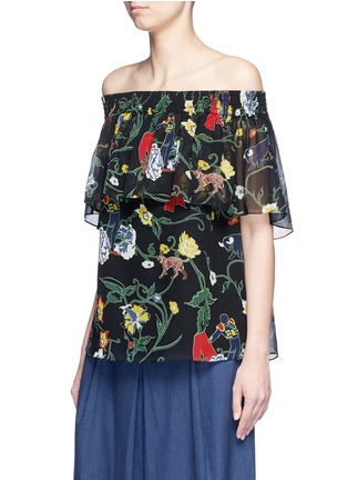 Front View - Click To Enlarge - Tibi - 'Seville' print ruffle silk off-shoulder top