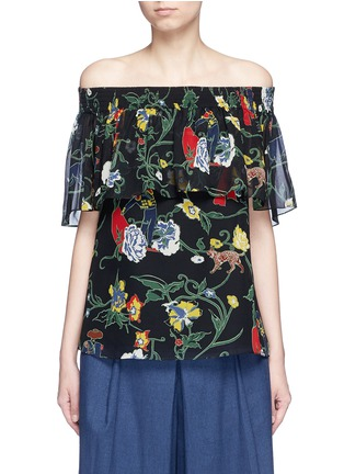 Main View - Click To Enlarge - Tibi - 'Seville' print ruffle silk off-shoulder top